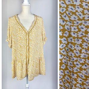 Suzanne Betro Drop Waist Yellow  Blouse NWT XL